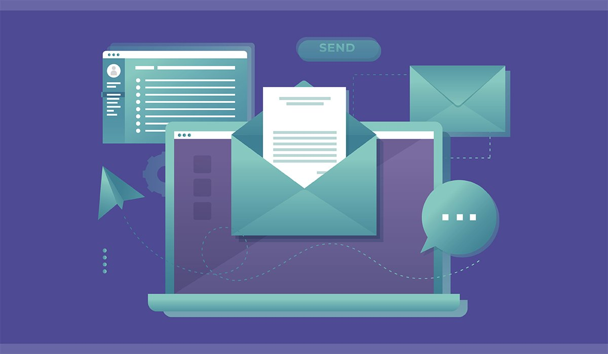 Image of computer and emails