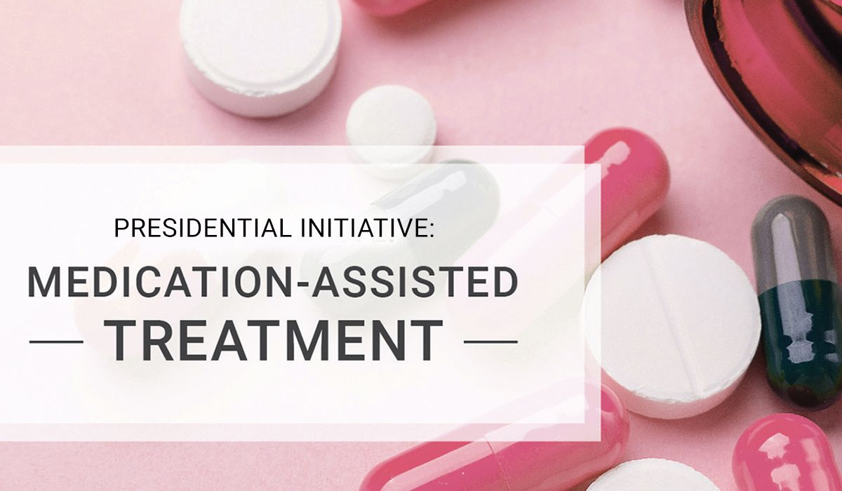 Graphic with prescription drugs for Medication-Assisted Treatment