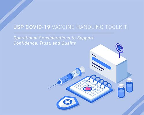 Image with vaccine graphics for the USP COVID-19 Vaccine Handling Toolkit webinar