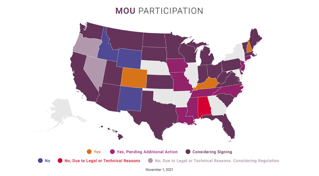 Map showing state Boards of Pharmacy participating in the FDA MOU